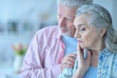 Beautiful sad elderly couple Royalty Free Stock Photography