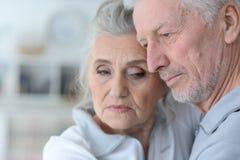 Beautiful sad elderly couple Royalty Free Stock Images