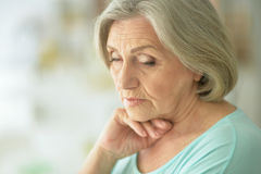 Beautiful sad elderly woman close-up Royalty Free Stock Photos
