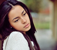 Beautiful sad girl outdoor portrait Stock Images