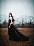Beautiful sad goth girl stands in autumnal field. Grunge texture Stock Photo