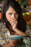Beautiful Sad Latina Woman with Sympathy Card Stock Image