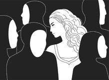 Beautiful sad long-haired woman surrounded by black silhouettes of people without faces. Concept of loneliness in crowd. Alienation, estrangement, indifference royalty free illustration