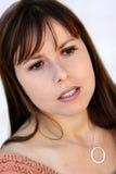Beautiful sad woman. Close-up portrait of a beautiful sad woman Stock Photos