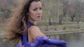 Beautiful sad woman on bridge, freedom, suicidal thoughts, fall. Stock footage stock video