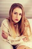 Beautiful sad, worried caucasian woman. Stock Photography