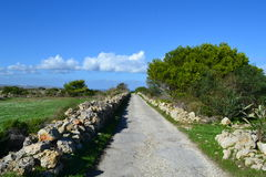 Beautiful and Safe Hiking road in Malta. Great and Safe Hiking Road in Mellieha  in Northwest of Malta - Europe Stock Photo