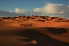 Sahara Desert Merzouga Morocco. The beautiful Sahara desert sand dunes at sunset in stock photography