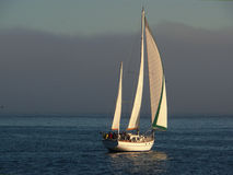 Beautiful sailboat cruising 2. A beautiful sailboat on a leisurely cruise on calm sea late in the afternoon. Fog is coming in from the Pacific Stock Image