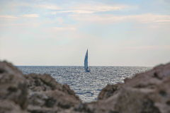 Beautiful sailboat sailing sail blue Adriatic sea. Near Dubrovnik Stock Photography