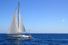 Beautiful sailboat sailing sail blue Mediterranean Stock Photography