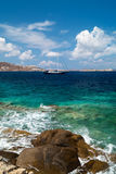 Beautiful sailboat sailing sail blue Mediterranean sea mykonos Stock Images