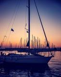 Beautiful sailboat on sunset Royalty Free Stock Image