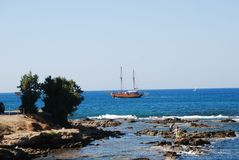 Beautiful sailing ship in the blue sea royalty free stock photography