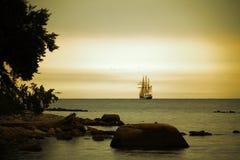Free Beautiful Sailing Ship On Sea At Dusk Royalty Free Stock Photography - 34843887