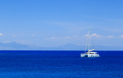 Free Beautiful Sailing Yacht At Sea On The Background Of Distant Islands Greece Royalty Free Stock Images - 73140079