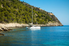 Beautiful sailing yacht in the marina. Mediterranean Sea, Greece Royalty Free Stock Photography