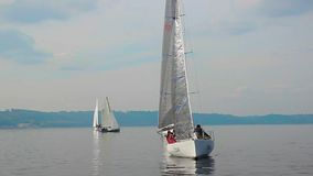 Beautiful sailing yachts in open sea, traveling, tourism, race. Stock footage stock footage