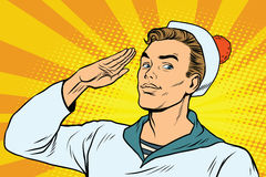 Beautiful sailor salutes, the marine profession Royalty Free Stock Photography