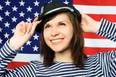 Beautiful Sailor Standing Near The American Flag Stock Photos