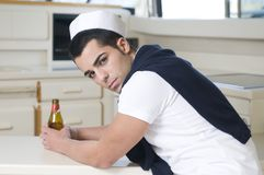 Beautiful sailorman wearing white navy clothes Stock Photo