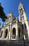 The Saint-Ambroise church soars into blue sky in French capital Paris.