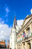Beautiful Saint Louis Cathedral and Louisiana state museum in th Royalty Free Stock Images