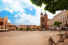 Beautiful Saint Mary's Basilica and Rynek Glowny Royalty Free Stock Images