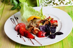 Beautiful salad with grilled chicken, mushrooms Royalty Free Stock Image