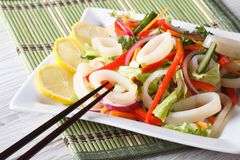 Beautiful salad with vegetables and squid rings, horizontal Royalty Free Stock Image