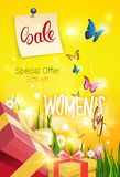 Beautiful Sale Banner Discount Flyer Card Women Day Promotion Template Poster Design. Vector Illustration Royalty Free Stock Photography
