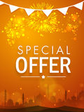 Beautiful sale poster, banner or flyer for Eid celebration. Beautiful special offer sale poster, banner or flyer decorated with shiny fireworks and mosque Stock Images