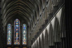 The beautiful Salisbury Cathedral in the UK. Salisbury Cathedral - an Anglican cathedral in Salisbury, England, one of the leading examples of Early English royalty free stock image