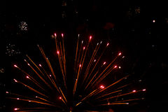 Beautiful salute and fireworks with the black sky background. Abstract holiday background with various colors fireworks light up. Stock Image