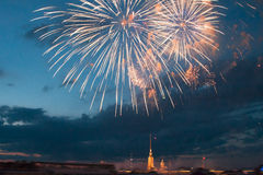 Beautiful salute over the Neva River in the city of St. Petersburg Royalty Free Stock Images