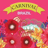Beautiful samba dancer and flowers invitation Stock Photos