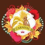 Beautiful samba dancer and flowers invitation Stock Image