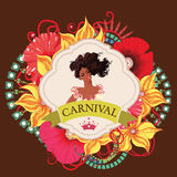 Beautiful samba dancer and flowers invitation Stock Images