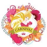 Beautiful samba dancer and flowers invitation Stock Photo