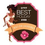 Beautiful samba dancer and flowers invitation Royalty Free Stock Photos