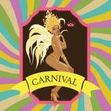 Beautiful samba dancer and flowers invitation Royalty Free Stock Photo