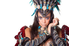 Beautiful samba dancer portrait, isolated on white Stock Image