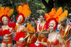 Beautiful samba sexy dancers on carnival. Royalty Free Stock Image