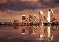 San Diego California skyline and bay seen at night royalty free stock photos