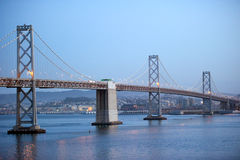Beautiful san francisco bay bridge at twilight Royalty Free Stock Photos