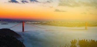 Beautiful san francisco city skyline with the golden gate bridge Royalty Free Stock Photo