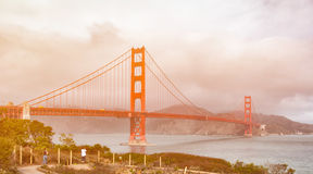 Beautiful san francisco city skyline with the golden gate bridge Stock Images