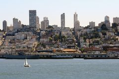 Beautiful San Francisco Skyline. A sailboat sails in front of a beautiful San Francisco skyline Stock Photography