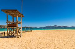 Beautiful sand beach on Majorca island, Spain. Mallorca beach, beautiful seaside at bay of Port de Pollensa, Spain Mediterranean Sea Stock Photography
