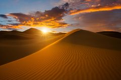 Beautiful sand dunes in the Sahara desert Stock Photos